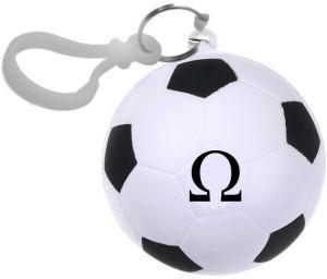 Omega esőkabát foci labda alakú tartóban, karabinerrel